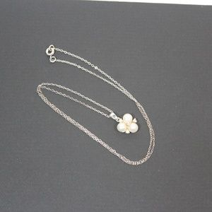 Jewelry - Sterling Necklace with 3 pearls and 4 CZ